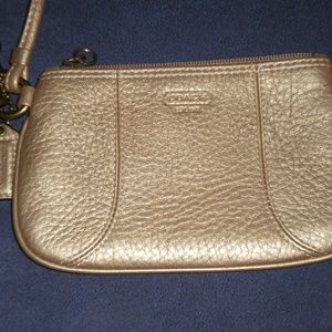 Darling COACH Gold Pebbled Leather Wristlet/Clutch